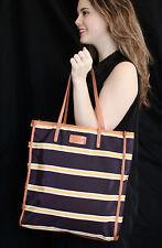 Kate Spade Bon Shopper NAVY BLUE YELLOW STRIPED Tote Bag Purse HANDBAG MICHIGAN!