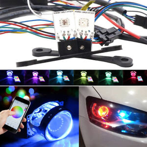 2x RGB Demon Eye Car Headlight Bulb Kit LED Background Color Lamp Blueteeth APP