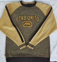 Ecko Unltd Heavy Men's Mustard & Brown Sweater Size M