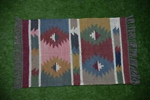 Hand-woven Floor Kilim Rugs Jute Area Indian vintage Hand loomed Rustic 2x3-53