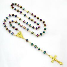Gold Plated Rosary Beads Necklace Cross Jesus Crucifix Virgin Mary Pendant Chain