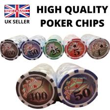More details for new 100 numbered laser 5 colors poker chips 12 gram abs composite uk stock