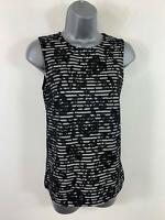WOMENS WAREHOUSE BLACK/WHITE STRIPE LACE SLEEVELESS SMART/CASUAL VEST TOP SIZE 8