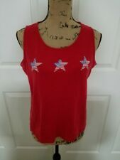 Villager Sport Woman's Red Patriotic Sleeveless 100% Cotton Knit Top Size Large