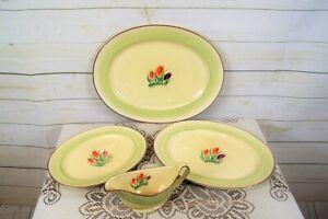Vintage Art Deco Minton Part Dinner Service: 3 Oval Serving Plates + Gravy Boat