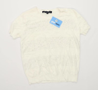 French Connection Womens Size L White Embellished Top (Regular)