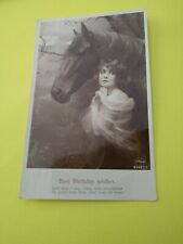 Vintage Horse Postcard. Horse with young woman near. British. PM 1915.