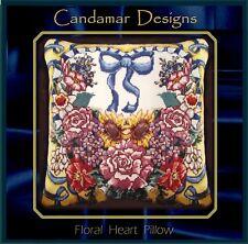 * FLOSS TAPESTRY NEEDLEPOINT* 1994 CANDAMAR * FLORAL HEART PILLOW * New Kit
