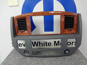 06-08 Dodge Ram Gps Nav Navigation Dash Radio Bezel Slate Gray Wood Mopar Oem