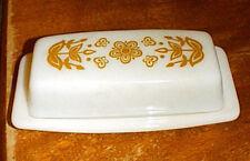 Pyrex Corelle GOLD BUTTERFLY Milkglass Butter Dish