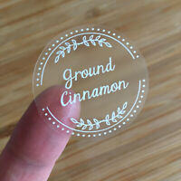 72 x Herb and Spice Jar Clear Labels Vinyl Stickers with White Print - 38mm