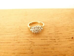 Ladies 9ct Yellow Gold and Diamond Cluster Ring - Size L