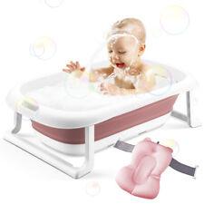 Baby Bathtub, Foldable Infant Newborn Bath Tub With Cushion for 0-2 Years'