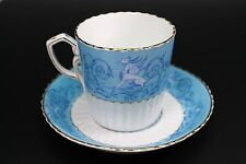 Antique English Griffin Marked Dragon Blue Porcelain Cup and Saucer