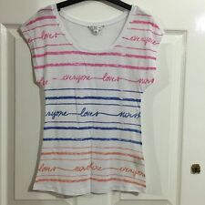 RRP £20 - NEW LOOK, WHITE & MULTICOLOURED LOVE SLOGAN PRINT THIN JERSEY TOP, UK6
