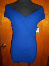 INC International Concepts Blue Criss Cross Off Shoulder Sweater Top M NWT $55