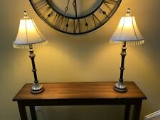 Pair Of Buffet Table Lamps Beaded Beige Floral Shades Bronze Silver