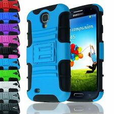 HEAVY DUTY HYBRID IMPACT PLASTIC STAND CASE SILICONE COVER FOR GALAXY S4 9500