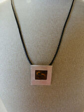ARTISAN MADE SQUARE SILVER ENAMELED PENDANT ON BLACK LEATHER CORD NECKLACE