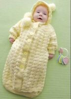 Baby Cocoon Bunting Sleeping Bag Hood Shell Pattern  0-6 mths ~  Crochet Pattern