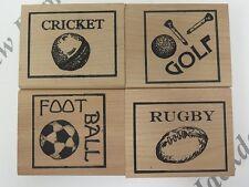 4 Sellos De Goma elevado de Madera Tema de deportes Golf Rugby Fútbol Cricket AM312