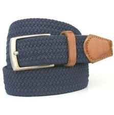 "Adolfo Dominguez Dark Blue With BRown Leather Trims Belt 95cm/38"""