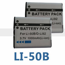 Two Battery for LI-50B Olympus Tough TG-610 TG-810 TG-805 SH-21 iHS TG-850