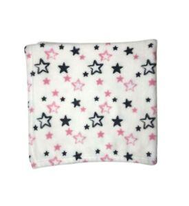 ZAK & ZOEY Baby Girl STAR Blanket Fleece White Grey Pink 30x30 Lovey Security LN