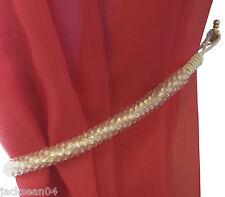 2 Crema Transparente Con Cuentas Cortina Red gasa Retenciones de abrazaderas