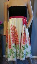 Anna Sui Anthropologie Silk Linen Embroidered Floral Strapless Dress 6
