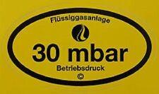 Betriebsdruckaufkleber 30 mbar Gas Aufkleber Gas Gasprüfung