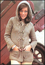 Vintage Knitting Pattern • Ladies Duffle Style Hooded Jacket with Pockets • Aran