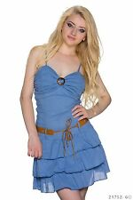 Minikleid Sommerkleid Partykleid Volant Kleid Bandeau Trägerkleid Basic