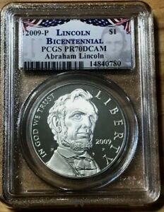 2009-P ABRAHAM LINCOLN Silver Dollar PCGS PR70DCAM Desirable BICENTENNIAL Label