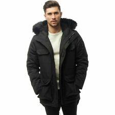 Bellfield Mens Nimrod Fur Lined Black Parka XL