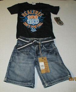 Bailey's Pt Boys Size 4 Denim Shorts & XS Realtree Bucks & Trucks T NWT