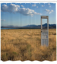 Antique Old Door rassy Field with Mountains Summer Sky Background Shower Curtain
