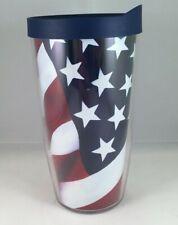 Tervis Tumbler American USA Flag Stars Stripes w/Blue Lid 16 oz.