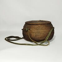 "Vintage Native American Basket With Lid 3.5"" Tall String"