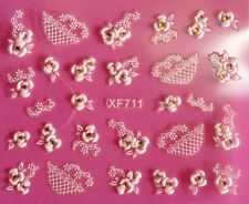 3D Nail Art Stickers Flower White Lace Yellow Crystal Manicure Decorations XF711