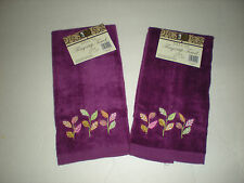 Set of 2 Purple Deluxe Fingertip Towels w/Embroidered Pink Green Gold Leaves New