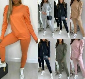 LADIES RUFFLE PUFF SLEEVE LOUNGE WEAR SUIT TOP BOTTOMS TRACKSUIT SET