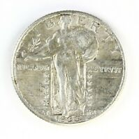 Raw 1930 Standing Liberty 25C Circulated US Silver Quarter Coin