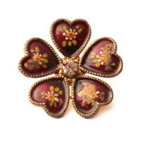 Antique Victorian enamel painted rhinestone gold metal flower button
