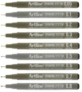 Artline Drawing Pens Technical Fineliners Architects Black Ink - Select Size