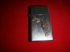 Vintage Year 1959 Polished Chrome Zippo Slim Lighter FLORIDA State Metal Emblem