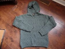 INIS CRAFTS 100% Wool cable Knit Hooded  Zip Front Cardigan Sweater S