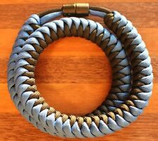 550 Paracord Snake Weave Survival Necklace Aquamarine/Black (21 inches)