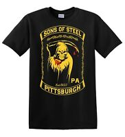 Pittsburgh Steelers sons of steel men's black tee shirt NFL football handmade 2A