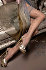 Women's Hold-ups In Fumo (Smoke) with embroidery running up the side of the leg.